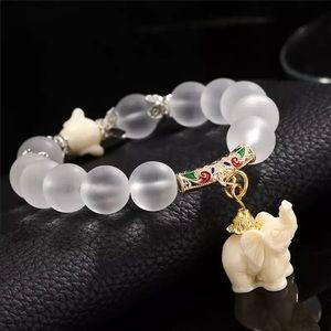 Brand New Natural Matte Crystal Elephant Bracelet